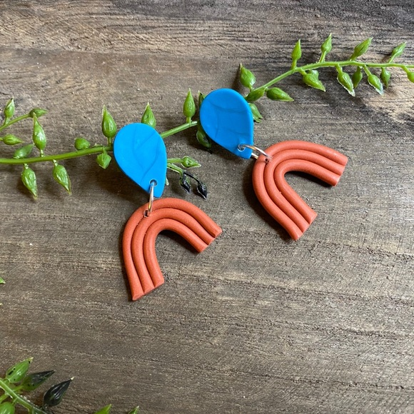 Hand Crafted Jewelry - Hand crafted rainbow polymer clay earrings